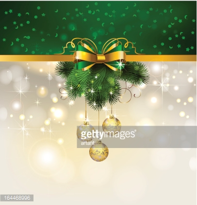 Christmas background with evening balls and fir tree