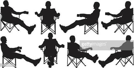 Multiple images of a man resting on floding chair