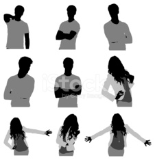 Silhouette of people in different poses