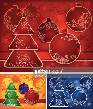 Background with baubles and tree