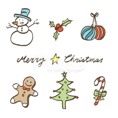 sketch style christmas element icons