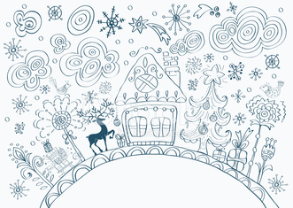 Christmas hand drawn doodle background
