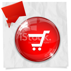 Glossy round red Shopping Car button