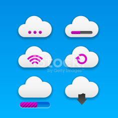 Cloud buttons with Web icons