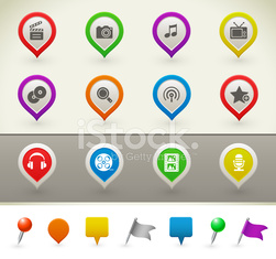 Multimedia icons on pins