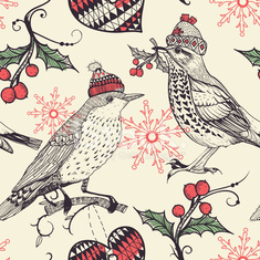vector seamless pattern with  Christmas birds