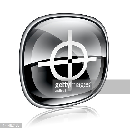 target icon black glass, isolated on white background.