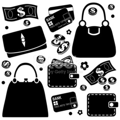purses and wallets icons