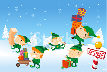 Christmas Elves playing with snow and presents design