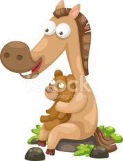 horse with bear