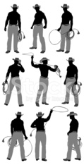 Multiple images of a cowboy with lasso