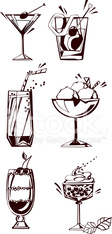 Silhouettes of drinks, glasses and desserts