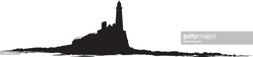Island Lighthouse in Silhouette