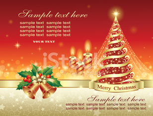christmas postcard with candle, ring and fir tree.