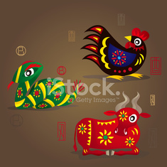 Chinese Zodiac Mascots: Rooster, Snake and Ox