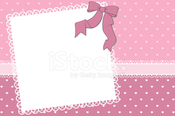 frame with hearts and ribbon background