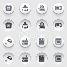 Household appliance icons  on white buttons.