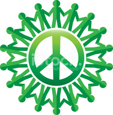 green peace symbol with paper chain people