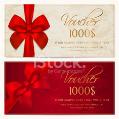 Gift Voucher / coupon / card/ tag / certificate template. Red bo