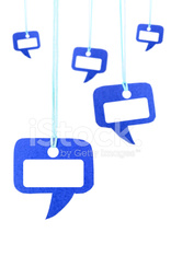 Blue speech bubble hanging on white