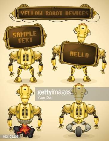Yellow vintage robot devices
