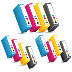 CMYK Ink toners collection.