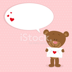 Little bear with loveletter and speech bubble