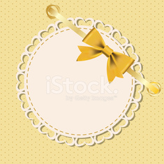 Vector greeting card with frame and bow.