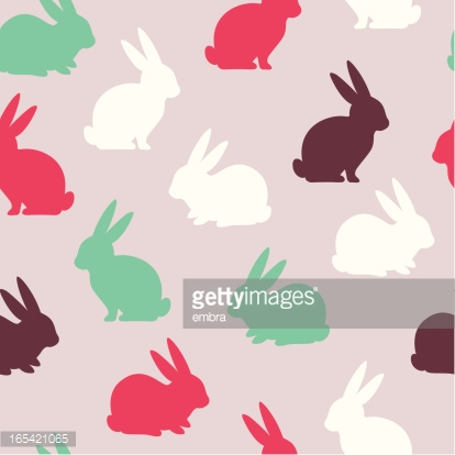 A rabbit pattern in pink, brown, and green