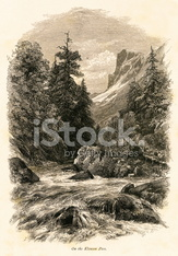 On the Klausen Pass, Switzerland (antique wood engraving)