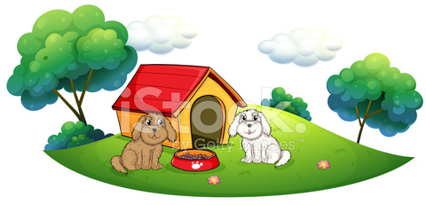 Island with a doghouse and two puppies