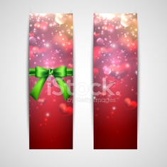 happy valentine's day. banners  with red hearts