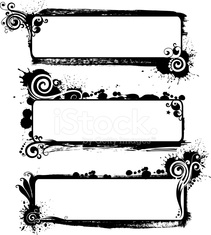 Set of grunge floral frames