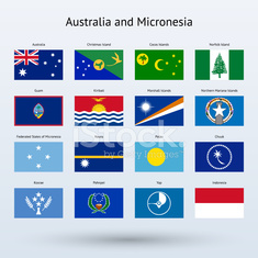 Australia and Micronesia Flags Collection