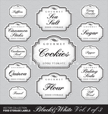vintage food storage labels set (vector)