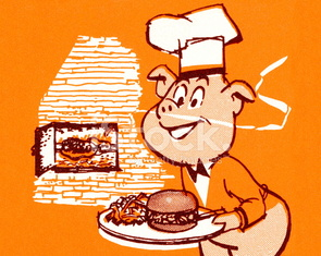 Smiling Pig With Barbecue