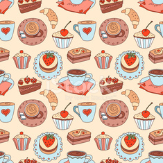Coffee seamless cartoon pattern.