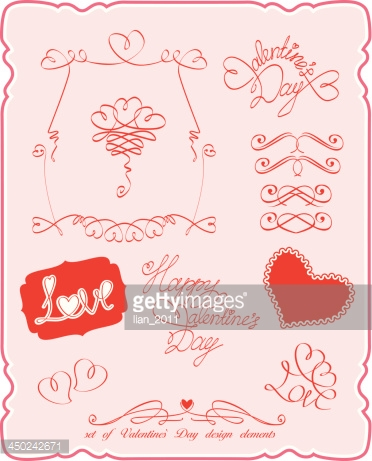 Set of Valentine`s Day symbols and design elements