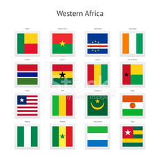 Western Africa Postage Stamp Flags Collection