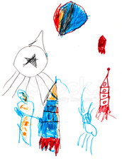 child's drawing - space rockets