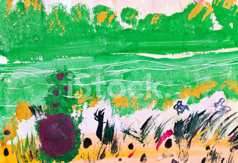 child's painting - green forest glade