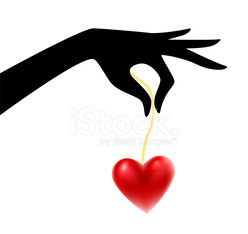 Vector illustration of Womans silhouette hand with heart