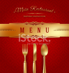Menu cover with golden cutlery and decorative elements