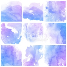 Set of colorful Abstract water color painting background