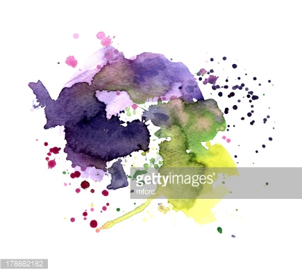 Multicolored stains violet green