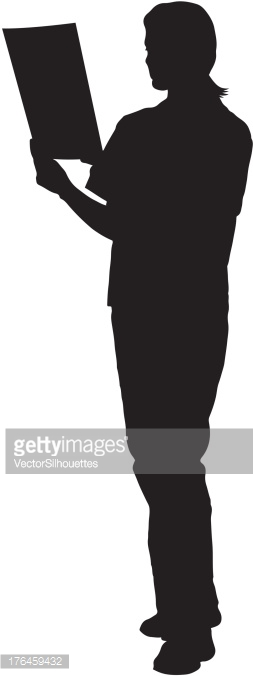 Doctor reading a chart silhouette