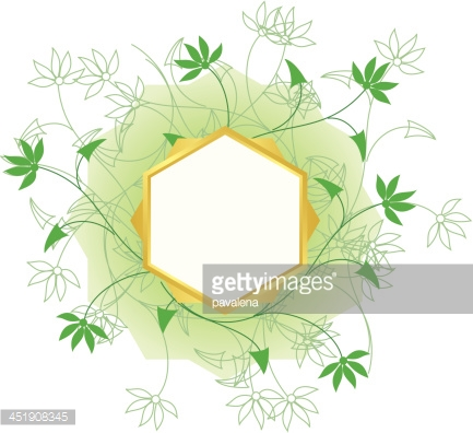 vector golden frame with white center and green plants
