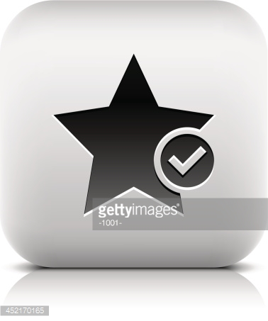 Star sign with check mark pictogram square icon web button