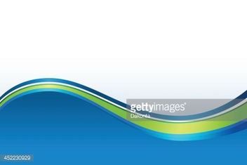 Abstract background with large blue wave and green accent