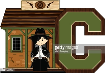 Cowboy at Jailhouse Learning Letter C